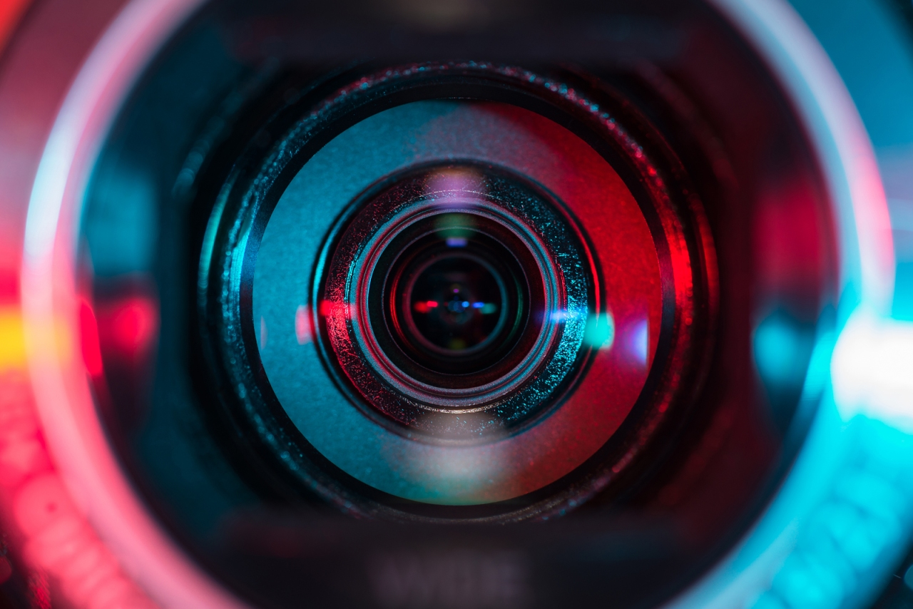 Close up shot of video camera lens